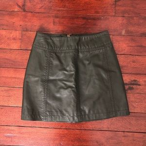 Free People Olive faux leather mini skirt